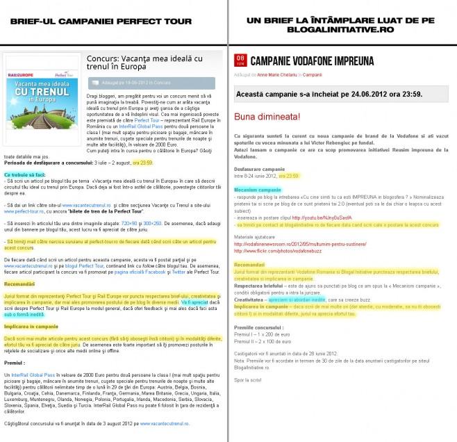 Comparatie Brief Perfect Tour vs Brief Blogal Initiative